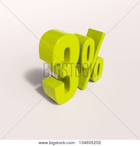 3d render: green 3 percent, percentage discount sign on white, 3%