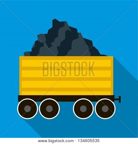 Railway wagon loaded with coal icon in flat style on a blue background