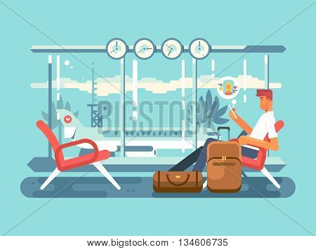 Waiting at airport of departure. Travel and terminal airport, transportation flight, vector illustration