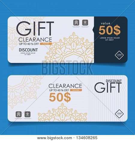 Voucher, Gift certificate, Coupon template with floral scroll pattern, red bow, gifts, presents. Background for invitation, money design, currency, note, check (cheque), ticket, reward. Vector