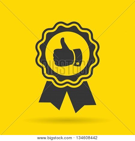 Recommended product icon isolated on yellow background