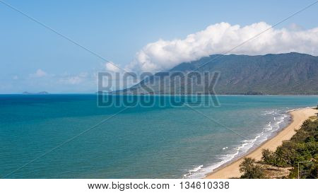 View from Rex Lookout of Trinity Bay and the Coral Sea, on the Captain Cook Highway, between Cairns and Port Douglas, Queensland, Australia.