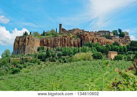 View at ancient town of Orvieto, Umbria, Italy
