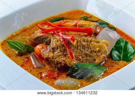 grill duck with red curry and jelly palm hot and spicy taste thai food and famose for tourist