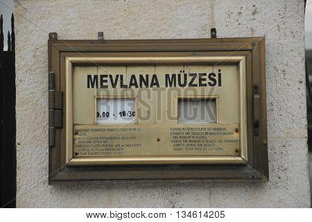 KONYA/TURKEY-June 7, 2016: Mevlana Museum's entrance board at the door. June 7, 2016-Konya/Turkey