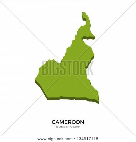 Isometric map of Cameroon detailed vector illustration. Isolated 3D isometric country concept for infographic