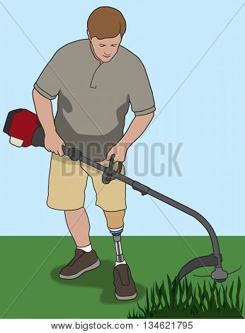 Left leg amputee clearing weeds out with his power tool