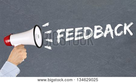 Feedback contact customer service opinion survey business concept review hand with megaphone poster