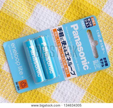 GOMEL, BELARUS - MAY 8, 2016: PANASONIC AA Eneloop alkaline battery. Panasonic Corporation, (Matsushita Electric Industrial Co., Ltd.), is a Japanese multinational electronics corporation.