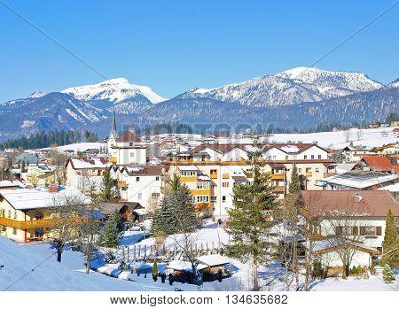 View to Village of Abtenau in Salzburger Land,Alps,Austria