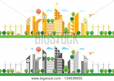 Two abstract background. Vector of city skyline