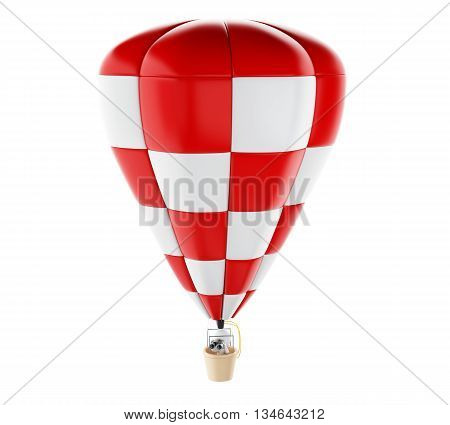 3d renderer image. White people on hot air ballon with binoculars. Isolated white background.