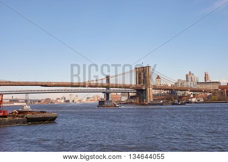 NEW YORK - MARCH 17, 2016: view from Pier 15 at daytime. Pier 15 is located east of South Street and FDR Drive in Lower Manhattan, New York City.