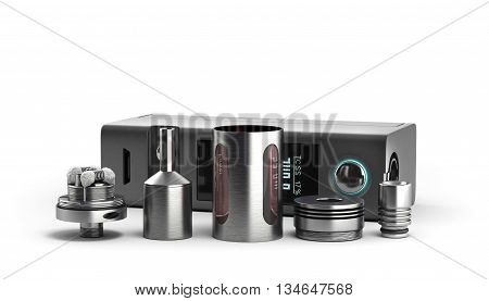 Serviced Atomizer In Disassembled Form For Soaring Electronic Cigarettes 3D Render On White
