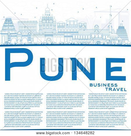 Outline Pune Skyline with Blue Buildings and Copy Space. Vector Illustration. Business Travel and Tourism Concept with Historic Buildings.