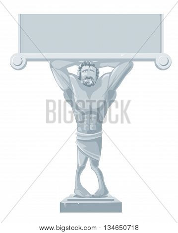 Architectural Atlante sculpture isolated on white background. Vector flat gray illustration for web poster info graphic.