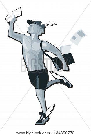 Hermes running. Greek god isolated on white. Vector flat gray illustration.