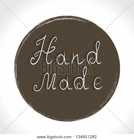 Vintage hand made logo and labels. Home Made and Hand Made Product Stamps. Hand lettering calligraphic inscription. Vector illustration.
