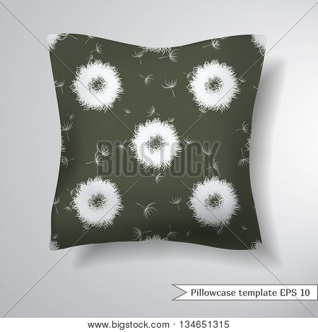 Creative sofa square pillow. Decorative pillowcase design template. Abstract dandelions on marsh color background. Vector illustration.