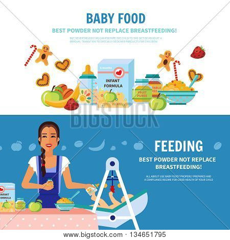 Best milk formula choice and breastfeeding importance 2 flat banners baby food introduction for parents vector illustration