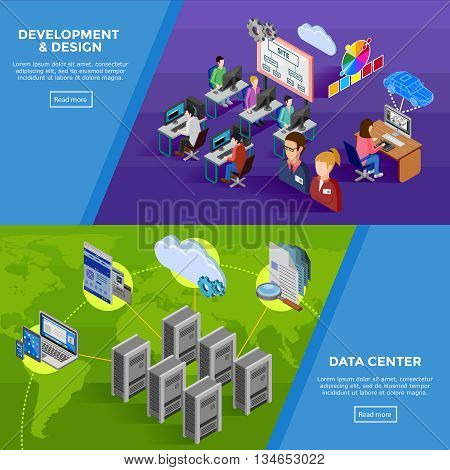 Development isometric horizontal banners with structure of data collection and creative command of developers and programmers flat vector illustration