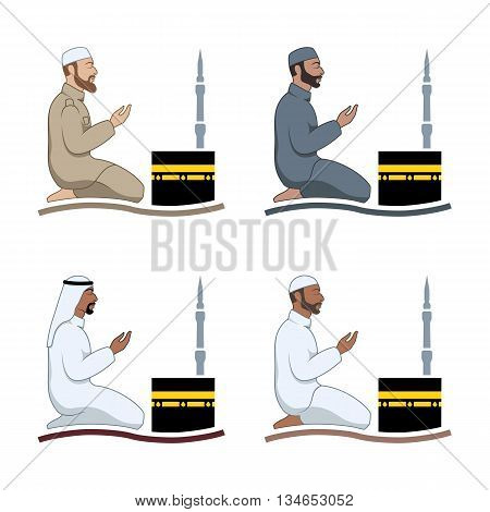 Traditionally clothed muslim man making a supplication (salah) while sitting on a praying rug against the backdrop of the mosque. Silhouette icon set includes 4 versions in different dress. Vector illustration.