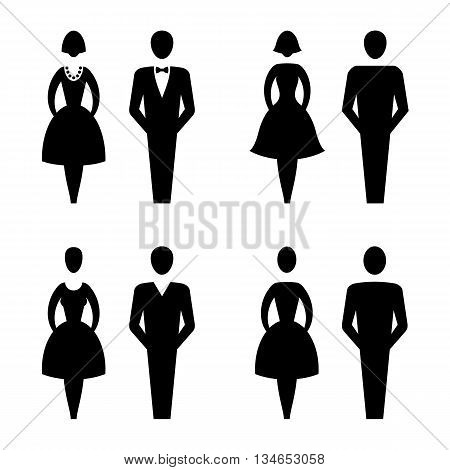 Restroom Signs Vector Lady & Gentleman Collection, vector illustration