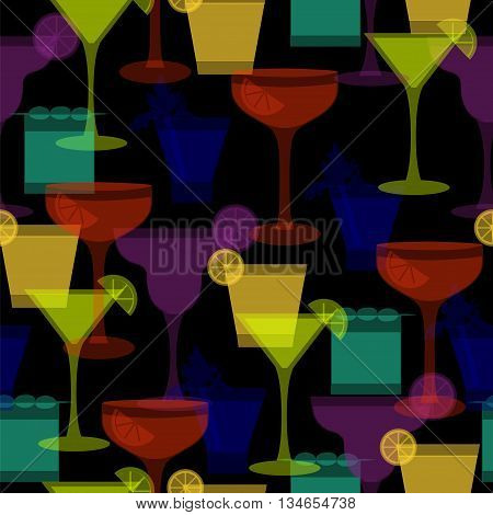Cocktail silhouettes seamless pattern. Vector illustration with different glasses and drinks for beverage menu party ad club lounge wrapping paper textile fabric. Bright colors on dark background