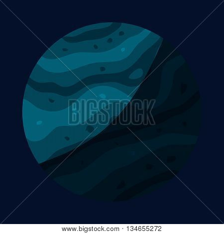 Uranus planet icon in cartoon style isolated on dark background