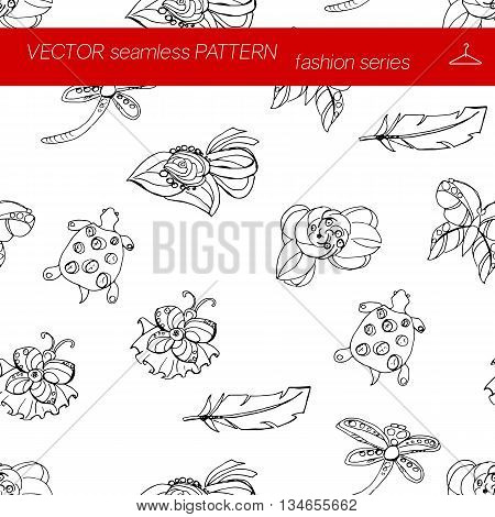 Seamless pattern. Fashion set brooches. Illustration in hand drawing style.
