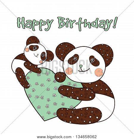 Panda with heart happy bithday card. Vector illustration.