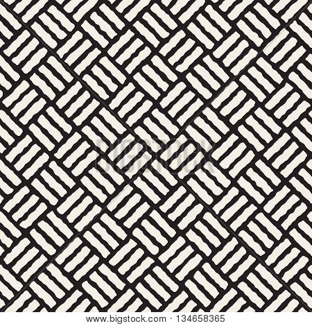 Vector Seamless Black And White Hand Drawn Pavement Pattern