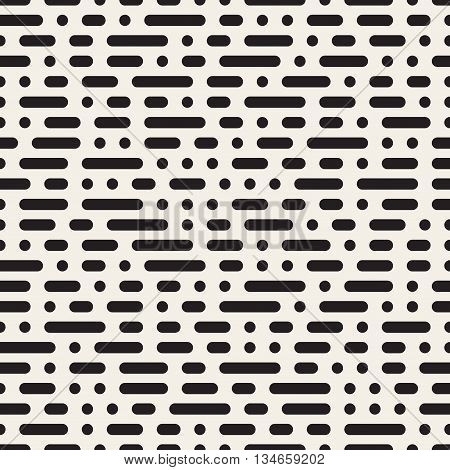 Vector Seamless Black And White Morse Code Dashed Horizontal Lines Pattern