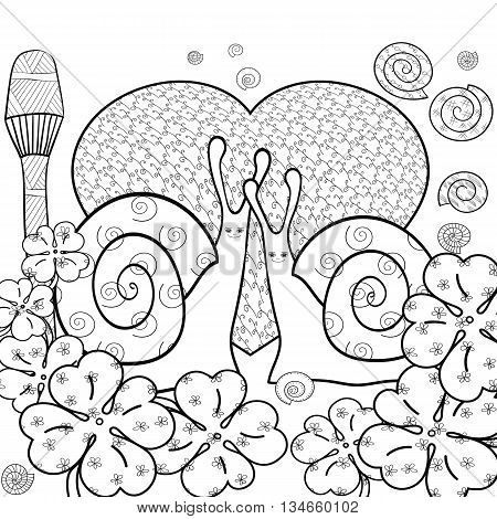 Cute snail adult coloring book page. Snails in whimsical forest with big heart and Magic mushroom. Shells and Clover leaves good luck sign. Line art vector illustration. Black outline.