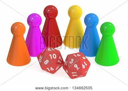 Board Game Pieces and 20 sides Dices 3D rendering isolated on white background