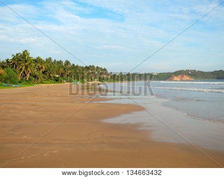 Empty wide clean beach with palms, Weligama, Sri Lanka