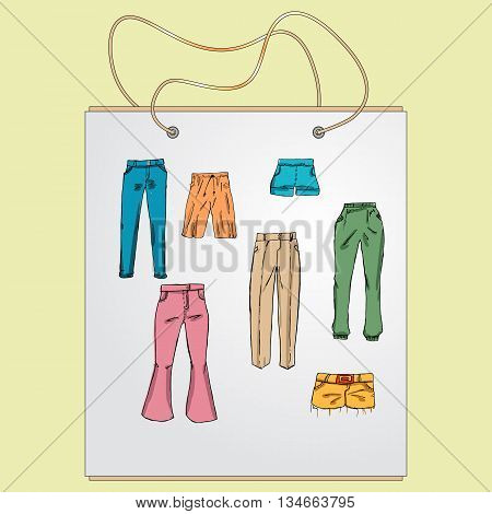 Shopping bag, gift bag with the image of fashionable things.Fashion set. different pants, trousers. Illustration in hand drawing style.