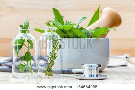 Alternative Health Care Concept. Fresh Herbs Green Mint ,rosemary ,parsley ,sage And Lemon Thyme In