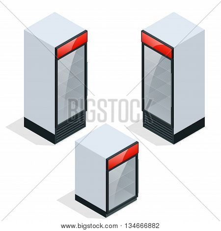 Commercial refrigerator to store drinks and perishables. Flat 3d vector isometric concept