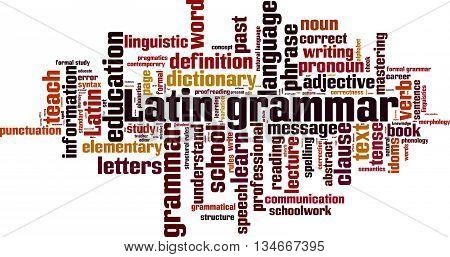 Latin grammar word cloud concept. Vector illustration