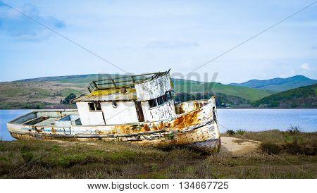 Shipwreck in Tomales Bay, north of San Francisco