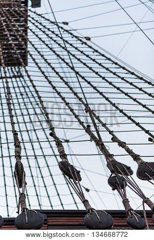 Ship shrouds. Photo  taken in Alicante.  Spain