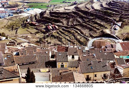Houses of Morella and surrounding countryside. Province of Castellon Valencian Community Spain.