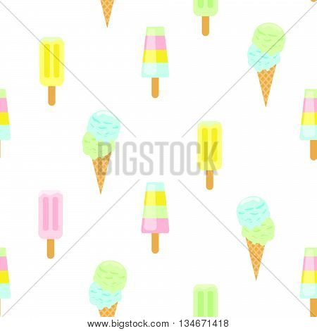 Ice cream vector seamless pattern. Summer ice dessert collection. Waffle cone, popsicle and sundae flat style icon background for wrap and textile.