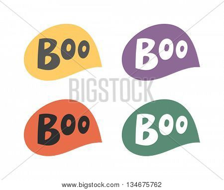 Boo speech bubble vector set.