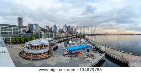Panoramic View Of Seattle Downtown And Anthony's Pier  66
