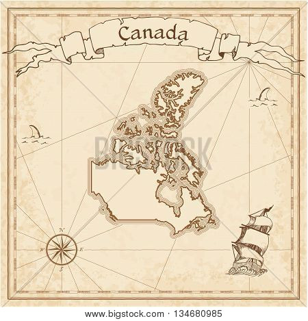 Canada Old Treasure Map. Sepia Engraved Template Of Pirate Map. Stylized Pirate Map On Vintage Paper