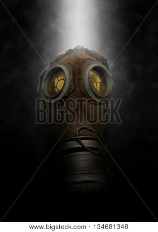 Single poisonous gas mask for soldier with with spray of mist behind it over dark gloomy background