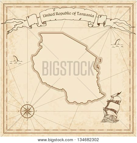 Tanzania, United Republic Of Old Treasure Map. Sepia Engraved Template Of Pirate Map. Stylized Pirat