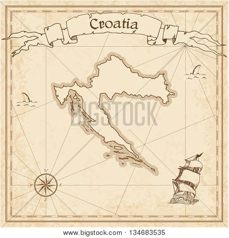 Croatia Old Treasure Map. Sepia Engraved Template Of Pirate Map. Stylized Pirate Map On Vintage Pape